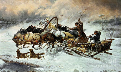 Snow Scene Landscape Painting - The Chase by Constantine Stoiloff