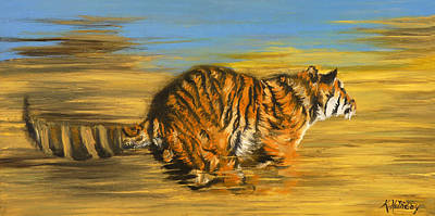 The Tiger Painting - The Chase by Kristy Holliday Main