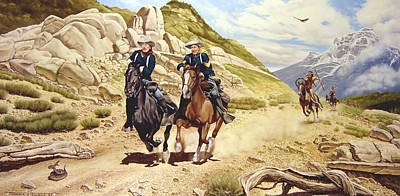 Western Horse Painting - The Chase by Marc Stewart