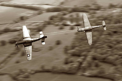 P51 Wall Art - Digital Art - The Chase - Sepia by Mark Donoghue