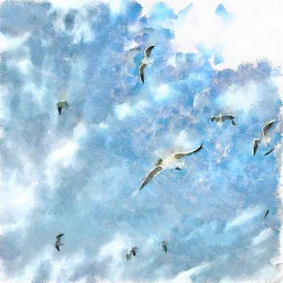 Painting - The Chasers - Seagulls In Flight by Tracey Harrington-Simpson