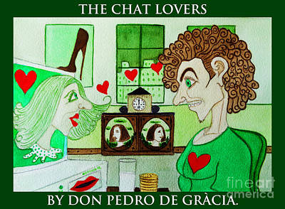 Humourous Painting - The Chat Lovers by Don Pedro De Gracia