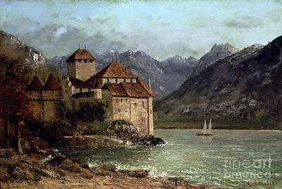 Mountainous Painting - The Chateau De Chillon by Gustave Courbet