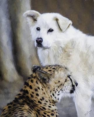 Cheetah Digital Art - The Cheetah And Her Companion by Lynn Andrews