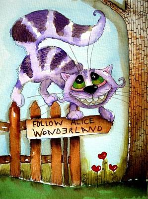 Cheshire Cat Painting - The Cheshire Cat - Follow Me by Lucia Stewart