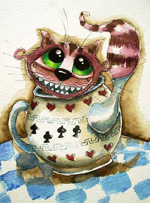 Cheshire Cat Painting - The Cheshire Cat - In A Teapot by Lucia Stewart