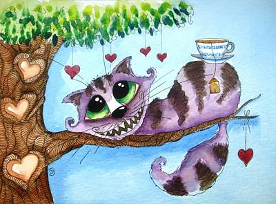 Cheshire Cat Painting - The Cheshire Cat - Tea Anyone by Lucia Stewart