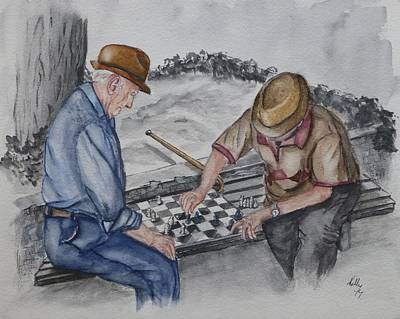 Painting - The Chess Game With Old Friends by Kelly Mills