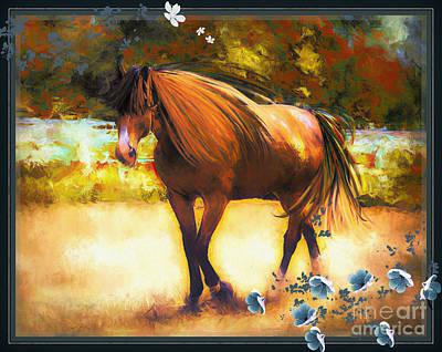 Digital Art - The Chestnut Stallion by Tina LeCour