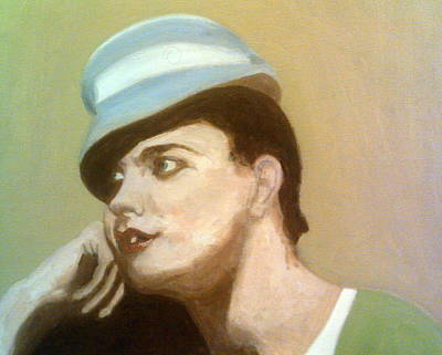 Painting - The Chic Brunette In The Blue Grey Hat by Peter Gartner