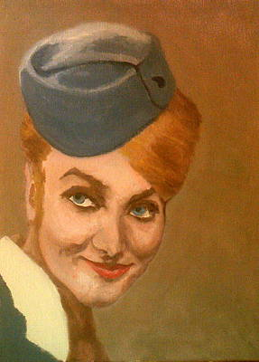 Painting - The Chic Stewardess Smiles by Peter Gartner