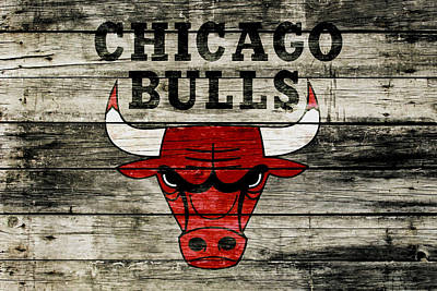 The Chicago Bulls Wood Art Art Print
