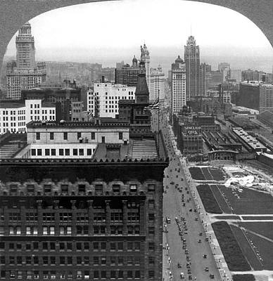 Photograph - The Chicago Skyline by Underwood Archives
