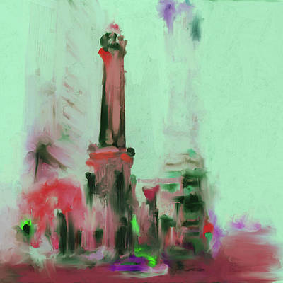 Grant Park Painting - The Chicago Water Tower 535 4 by Mawra Tahreem