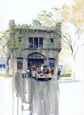 Chicago Painting - The Chicago Watertower Fire House by Rick Clubb