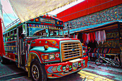 Panajachel Painting - The Chicken Bus by Tom Bell