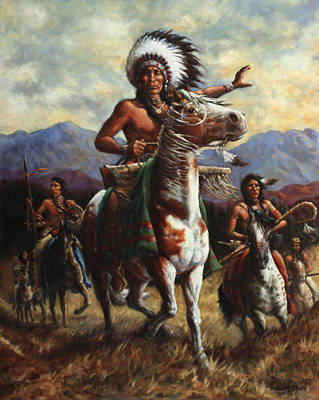 Indian Wall Art - Painting - The Chief by Harvie Brown