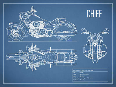 Photograph - The Chief Motorcycle Blueprint by Mark Rogan