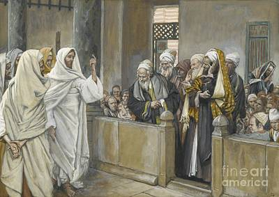 Priests Painting - The Chief Priests Ask Jesus By What Right Does He Act In This Way by James Jacques Joseph Tissot