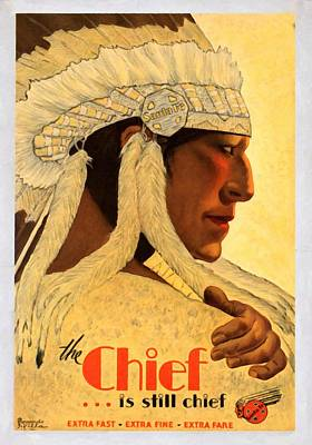The Chief Train - Vintage Poster Restored Art Print