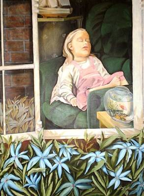 Painting - The Child Sleep - L'enfant Do by Therese Rouleau