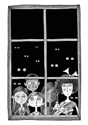 Boy Wall Art - Drawing - The Children In The Window by Andrew Hitchen