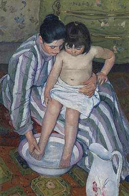 Basin Painting - The Child's Bath by Mary Stevenson Cassatt