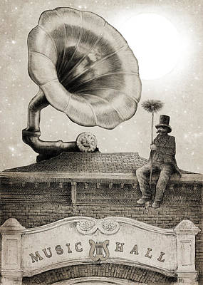 Surrealism Drawing - The Chimney Sweep Monochrome by Eric Fan