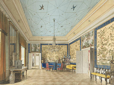 Berlin Drawing - The Chinese Room In The Royal Palace, Berlin by Eduard Gaertner