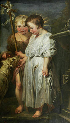 Kid Painting - The Christ Child, Saint John And The Lamb by Peter Paul Rubens