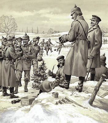 The Christmas Tree Painting - The Christmas Day Armistice by Pat Nicolle