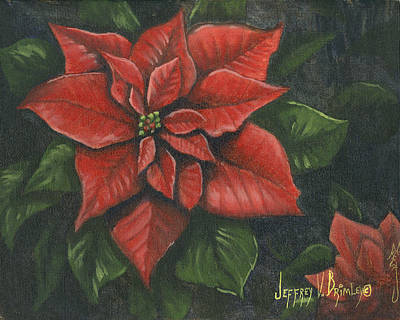 Poinsettias Painting - The Christmas Flower by Jeff Brimley