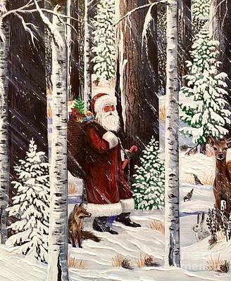 Painting - The Christmas Forest Visitor 2 by Jennifer Lake