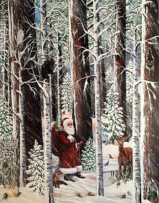 Painting - The Christmas Forest Visitor by Jennifer Lake