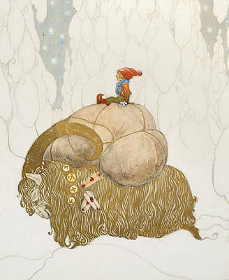 Elf Painting - The Christmas Goat  by John Bauer