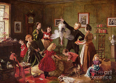 Christmas Card Painting - The Christmas Hamper by Robert Braithwaite Martineau