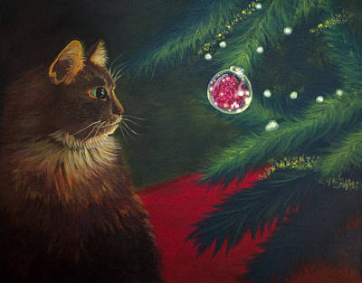 Painting - The Christmas Cat by Long Studios