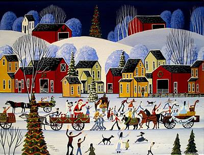 Folk Art Painting - The Christmas Parade - Artist Folkartmama by Debbie Criswell