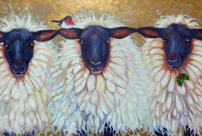 Animals Paintings - the Christmas sheep by Gill Bustamante