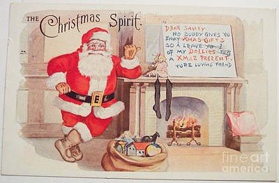 Painting - The Christmas Spirit Vintage Card Santa Next To Fireplace by R Muirhead Art