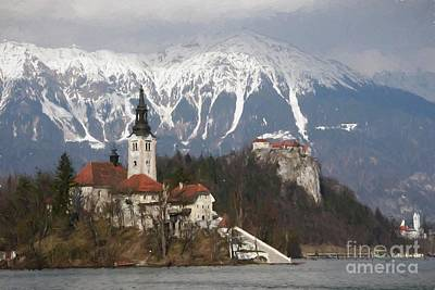 Digital Art - The Church And The Castle, Lake Bled by Howard Ferrier