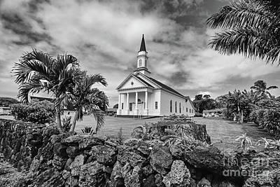 Photograph - The Church At Koloa - Bw by Scott Pellegrin