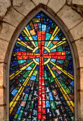 Photograph - The Church At La Villita Stained Glass  by David and Carol Kelly