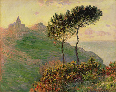 Small Lonely Painting - The Church At Varengeville, Against The Sunlight 1882 by Claude Monet