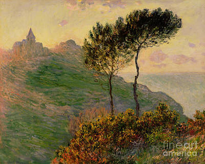 Tree Oil Painting - The Church At Varengeville Against The Sunlight by Claude Monet