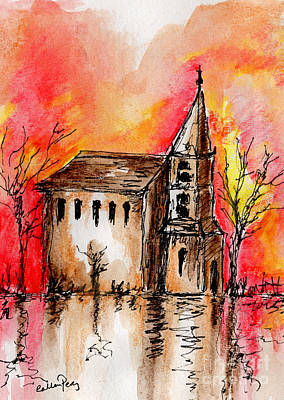 The Church By The River Art Print by Callan Percy