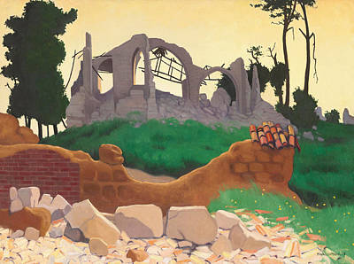 Destroying Painting - The Church Of Souain by Felix Edouard Vallotton