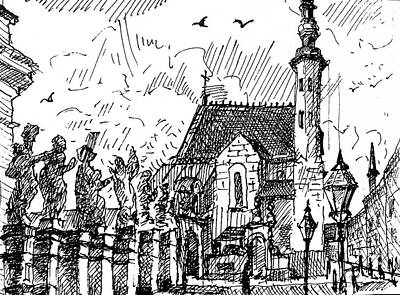Drawing - The Church Of St. Andrew In Krakow by Nina Silaeva