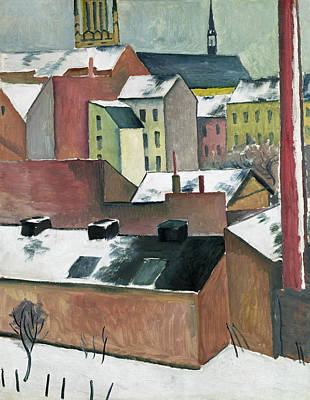 Factory Painting - The Church Of St Mary In Bonn In Snow by August Macke
