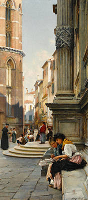 Scenes Of Italy Painting - The Church Of The Frari And School Of San Rocco, Venice by Henry Woods